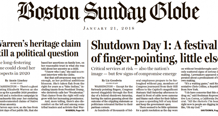 "Boston Globe A1: ""Elizabeth Warren's Native American Problem"" Grows"